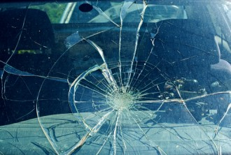 smashed windshield after a hit and run accident